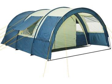 """CampFeuer Tunnelzelt """"Multi"""" Zelt für 4 Personen blau/sand Campingzelt"""