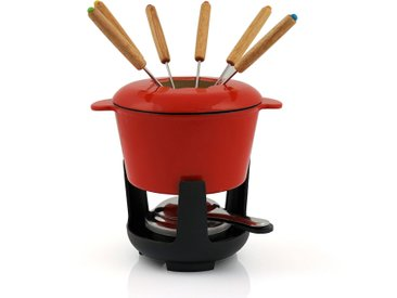 BBQ-Toro Gusseisen Fondueset, rot emailliert, 1 L, für 6 Personen