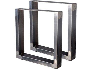Zelsius Tischkufen 2er Set (B)40 x (H)43 cm, Rohstahl, Industrie Stil