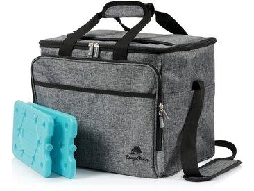 CampFeuer Kühltasche 30 Liter, grau-meliert, leicht und wasserdicht