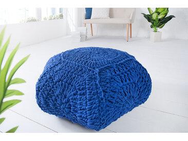 Design Strick Pouf COSY IV 70cm blau Sitzhocker in Handarbeit gestrickt