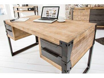 Massiver Industrial Schreibtisch FACTORY 135cm Akazie weiß gekälkt