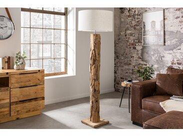 Höhenverstellbare Stehlampe ROOTS 175cm beige Treibholz-Fuß mit Leinenschirm