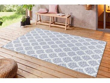 Outdoor Teppich OASIS 230x160cm blau beige Ethno-Muster wetterfest