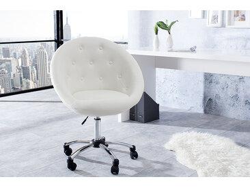 Höhenverstellbarer Bürosessel COUTURE LIVING weiß mit Rollen Loungedesign