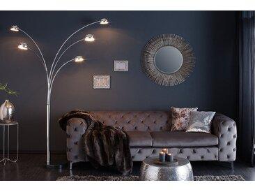 Design Bogenlampe FIVE LIGHTS 205cm silber Stehlampe Bogenleuchte