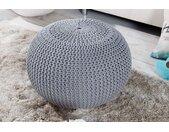 Design Strick Pouf LEEDS 50cm grau Baumwolle handgearbeitetes Sitzkissen