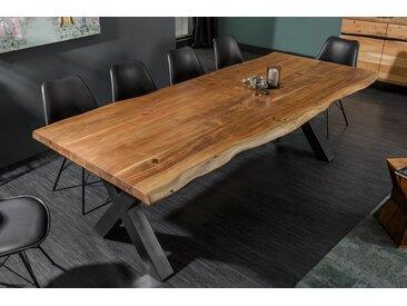 Massiver Baumstamm Esstisch MAMMUT NATURE 240cm Akazie 6cm Tischplatte Baumtisch