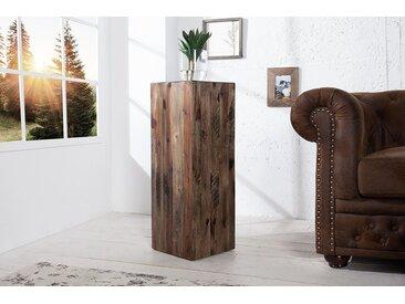 Hochwertige Dekosäule COLUMNA 75cm Akazie vintage braun Beistelltisch