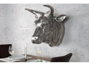 Extravagante Stierkopf Wanddekoration TORERO 65cm silber Deko Schädel