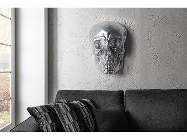 Exklusive Wandskulptur SKULL XXL 42cm silber Deko Totenkopf