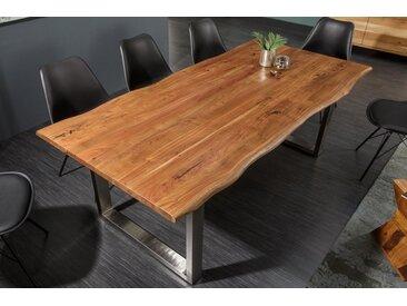 Massiver Baumstamm Esstisch MAMMUT NATURE 200cm Akazie 3,5cm Tischplatte Edelstahlbeine Baumtisch