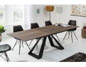 Ausziehbarer Esstisch CONCORD 180-230cm Eichen-Optik aus Keramik Säulentisch