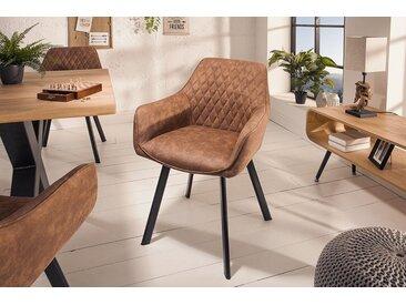 Retro Stuhl PALERMO vintage hellbraun mit Armlehne und Ziersteppung