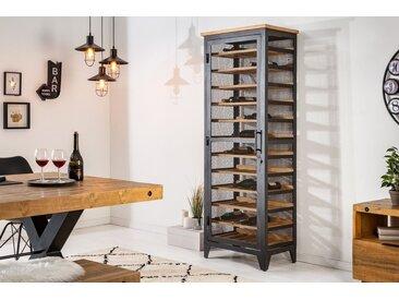 Industrial Weinschrank BODEGA 184cm recyceltes Pinienholz natur Weinregal für 72 Flaschen