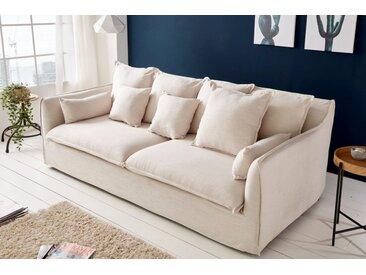 Großes 3er Sofa HEAVEN 215cm natur Leinenstoff abnehmbarer Bezug Hussensofa