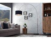 Ausziehbare Bogenlampe LOUNGE DEAL 170-200cm schwarz Leinenschirm Stehlampe
