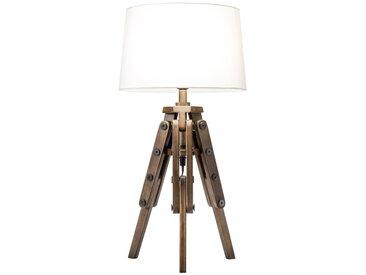 Industrial Tischlampe TRIPOD 59cm weiß Pinienholz Retro Tischleuchte