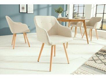 Retro Design Stuhl SCANDINAVIA MEISTERSTÜCK beige mit Armlehne
