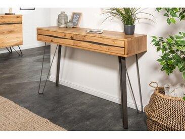 Massive Konsole LIVING EDGE 120cm Wildeiche geölt Baumkanten Schreibtisch Laptoptisch
