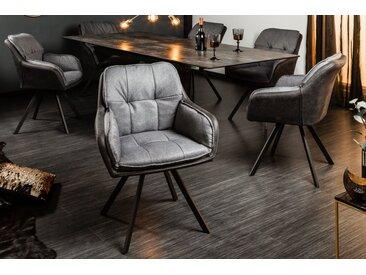 Drehbarer Design Stuhl MR. LOUNGER anthrazit grau mit Armlehne