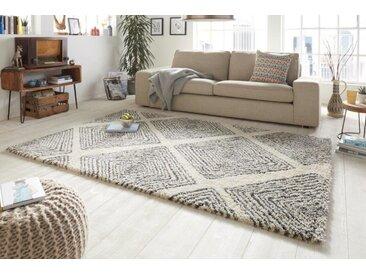 Scandinavian Hochflor Teppich EUPHORIA 230x160cm beige schwarz geometrische Muster