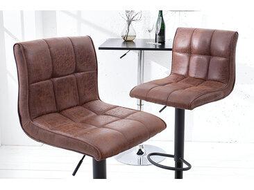Höhenverstellbarer Barhocker MODENA vintage braun Barstuhl mit Fußablage