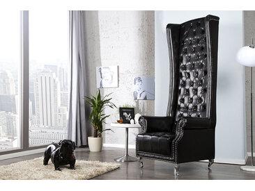 Barocker Thronstuhl HERITAGE schwarz mit Ziernieten Chesterfield Sessel