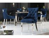 Eleganter Stuhl CASTLE royalblau Samt mit Löwenkopf im Barock Design