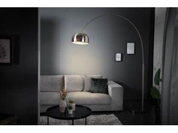 Ausziehbare Bogenlampe LOUNGE DEAL 170-210cm silber matt Marmorfuß Stehlampe