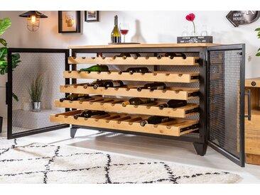 Industrial Weinschrank BODEGA 127cm recyceltes Pinienholz natur Weinregal für 55 Flaschen