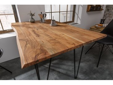 Retro Esstisch MAMMUT 120cm Wild-Akazie Küchentisch mit Hairpin Legs Baumtisch