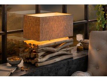 Handgefertigte Tischlampe EUPHORIA II natur Treibholz mit Leinenschirm