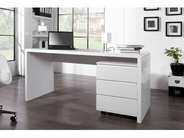 Design Schreibtisch FAST TRADE 160cm weiß Hochglanz Computertisch