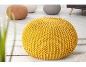 Design Strick Pouf LEEDS 50cm gelb Baumwolle handgearbeitetes Sitzkissen