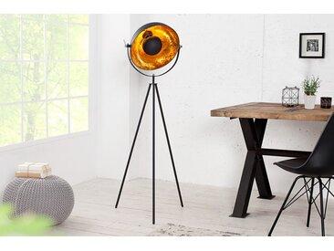 Elegante Stehlampe STUDIO 145cm schwarz Blattgold-Optik neigbarer Schirm