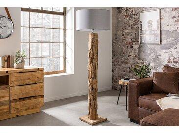 Höhenverstellbare Stehlampe ROOTS 175cm grau Treibholz-Fuß mit Leinenschirm
