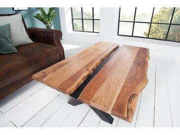 Massivholz Couchtisch AMAZONAS 120cm Akazie Metall schwarz Baumkante Baumtisch