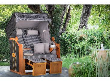 Komfortabler Strandkorb OSTSEE 120cm schwarz grau inkl. Wechselbezug und Kissen