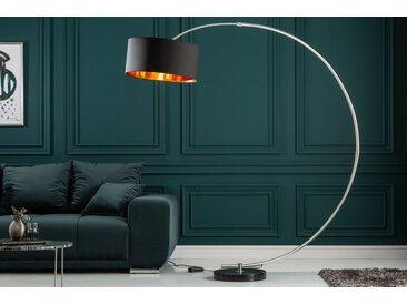 Dimmbare Bogenlampe PYTHON 190cm schwarz gold Retro Bogenleuchte