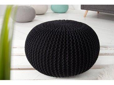 Design Strick Pouf LEEDS 50cm schwarz Baumwolle handgearbeitetes Sitzkissen