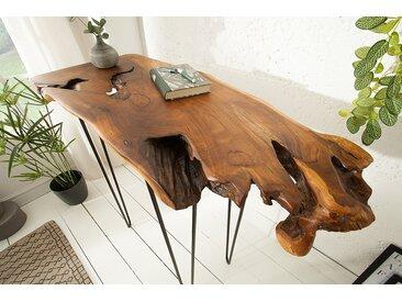 Massiver Konsolen Tisch WILD 95cm Teak Massivholz Baumscheibe Hairpin Legs Laptoptisch