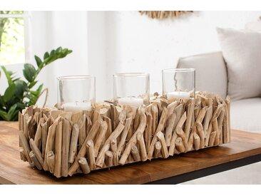 Elegantes Windlicht FOSSIL 50cm Treibholz Kerzenhalter für 3 Kerzen