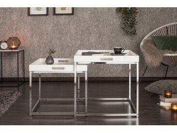 Modernes Design Beistelltisch 2er Set ELEMENTS 50cm weiß Chrom Tablett Tisch