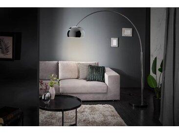 Ausziehbare Bogenlampe LOUNGE DEAL 170-210cm silber Marmorfuß Stehlampe