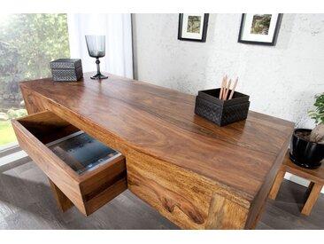 Massiver Sekretär MAKASSAR 100cm Konsolentisch Sheesham stone finish Schreibtisch einzigartige Maserung
