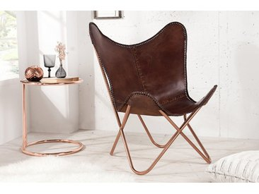 Retro Lounge Sessel BUTTERFLY braun mit Echtlederbezug Kupfergestell