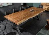 Massiver Baumstamm Esstisch MAMMUT NATURE 200cm Akazie Massivholz 6cm dicke Platte Baumtisch