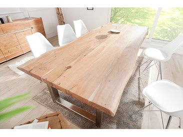 Massiver Baumstamm Esstisch MAMMUT 300cm Akazie Edelstahl Kufengestell 6cm Tischplatte Baumtisch