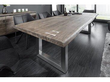 Massiver Esstisch MAMMUT ARTWORK 200cm grau Akazie sandgestrahlt Edelstahlbeine Baumtisch